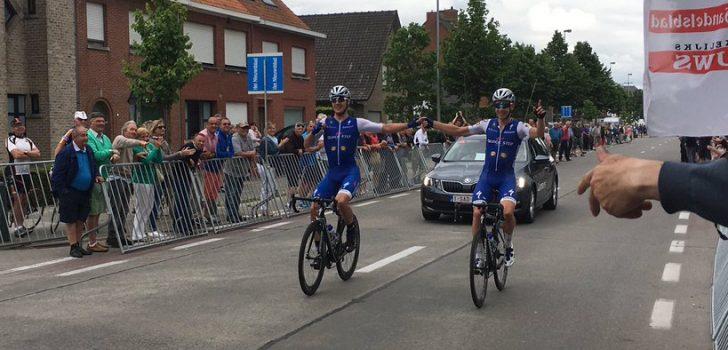 Lampaert en Vermote hand in hand over de finish in Gullegem Koerse