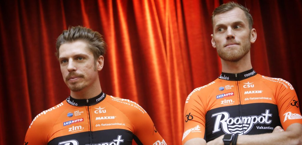 Kamperland - the Netherlands - wielrennen - cycling - cyclisme - radsport - Boy van Poppel - Lars Boom pictured during the presentation of the Roompot - Charles Cycling Team in de Banjaard Residence (Roompot) - photo Davy Rietbergen/ Cor Vos © 2018