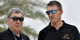 Axel Merckx en Patrick Lefevere lachen om André Hazes junior