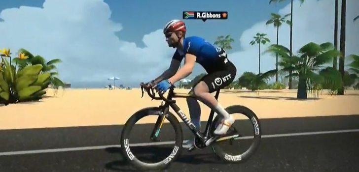 Gibbons schiet raak in Virtual Tour de France, Van der Poel vierde