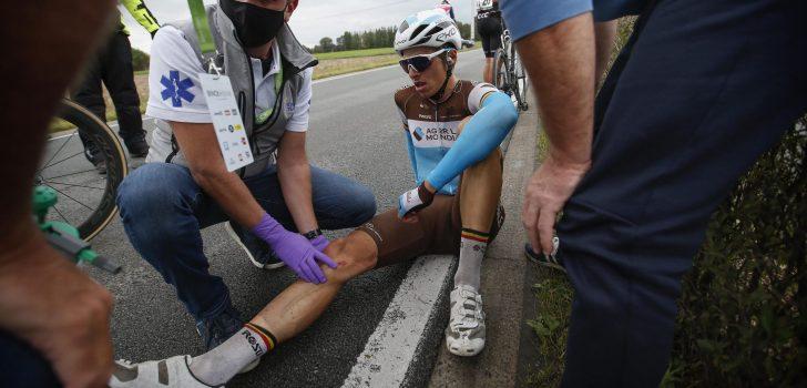 """Oliver Naesen kan door ondanks val op knie: """"Ik rijd nog niet pijnvrij"""""""