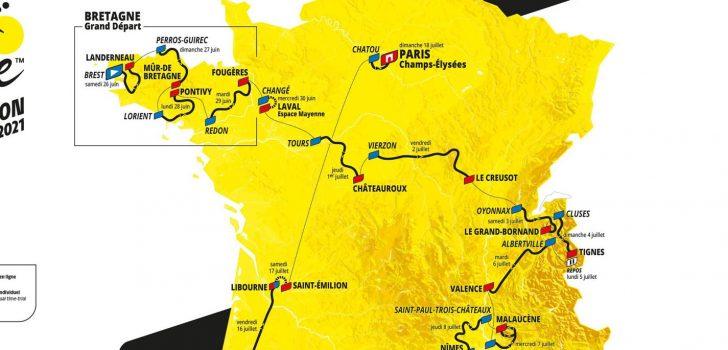 Dit is het parcours van de Tour de France 2021