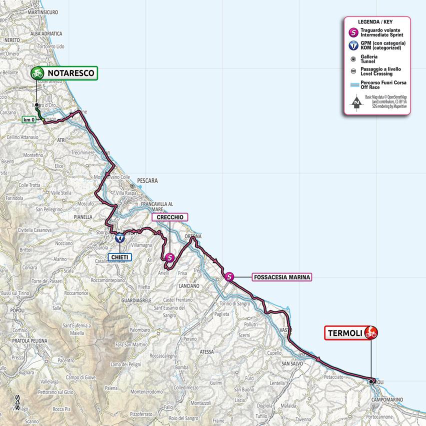 Giro 2021 kaart etappe 7